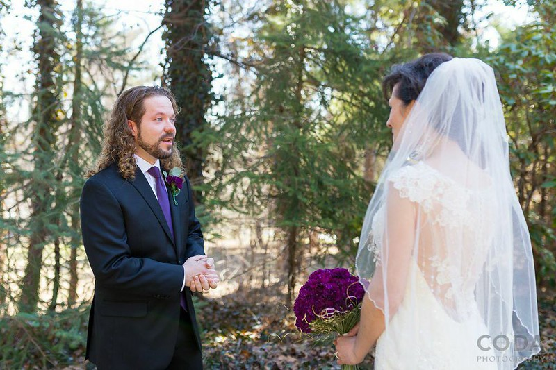 Purple glittery rock 'n' roll wedding from @offbeatbride
