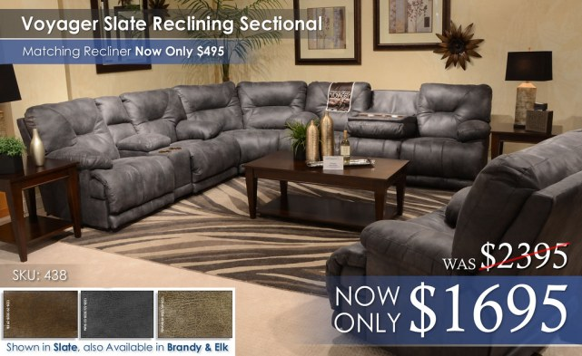 Voyager Slate Reclining Sectional 438