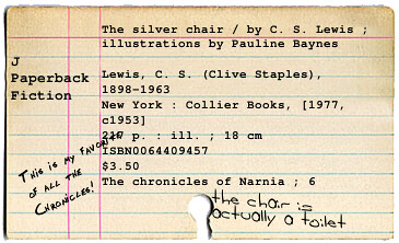Silver Chair Card An Example Of The New Card Catalog