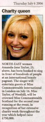 Miss Commonwealth Scotland Amanda Jane Taylor Newspaper A