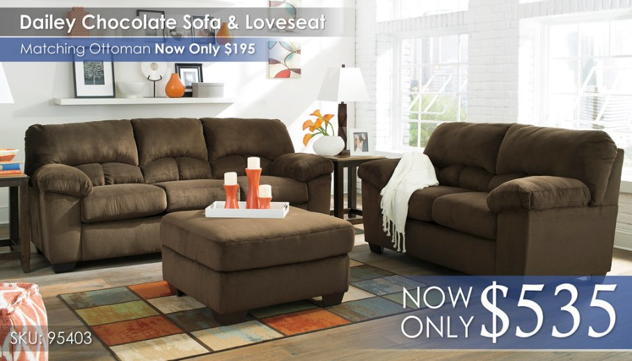 Dailey Chocolate Sofa & Loveseat 95403