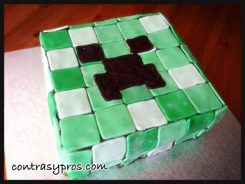 Tarta Minecraft, creeper, paso a paso, tutorial