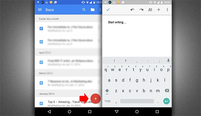 How to create word document in smartphone step 3