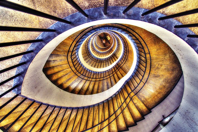 Spiral staircase at Deutsches Museum in Munich, Germany