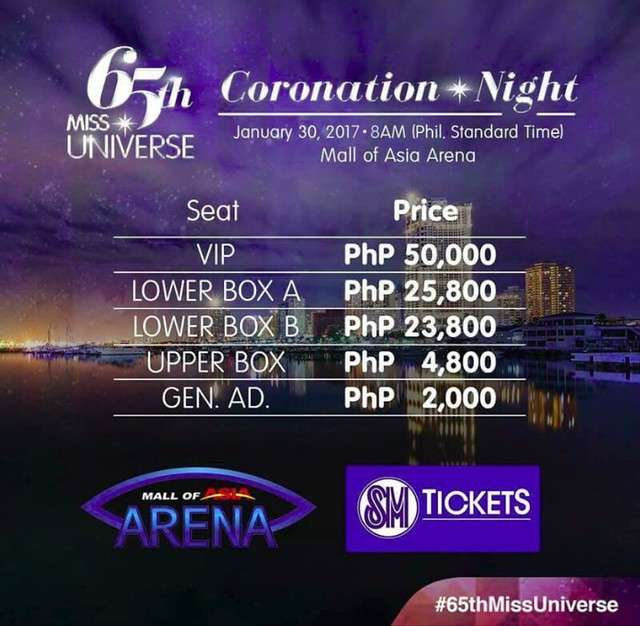 Miss Universe ticket prices