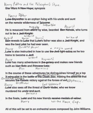 Harry Potter, the script   An early draft of Harry Potter