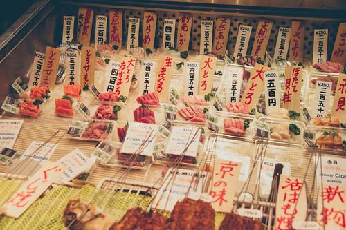 Wide array of sashimi at Nishiki Market
