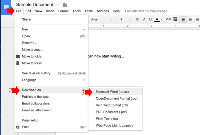 How to create word document online step 6