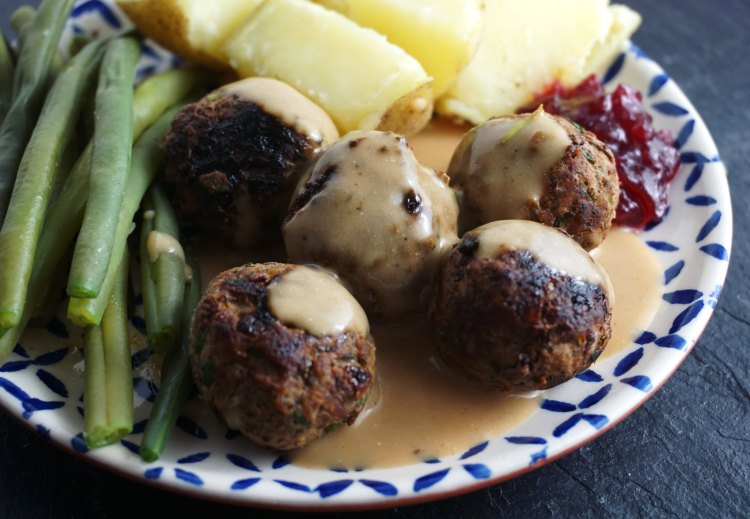 gluten free Swedish meatballs with gravy, cranberry jam, green beans and potatoes