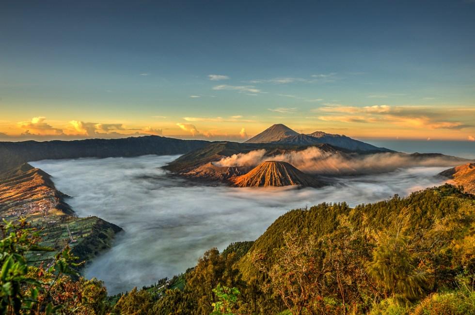 Three Volcanoes - Mt. Bromo, Mt. Batok and Mt. Semeru