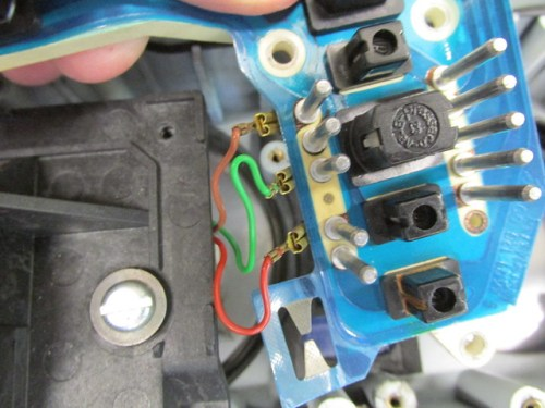 Tachometer Wires and Pins That Plug Into Black Rubber Plug in Wiring Harness