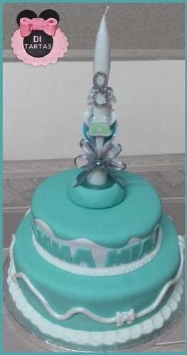 tarta bautizo aguamarina mint vela