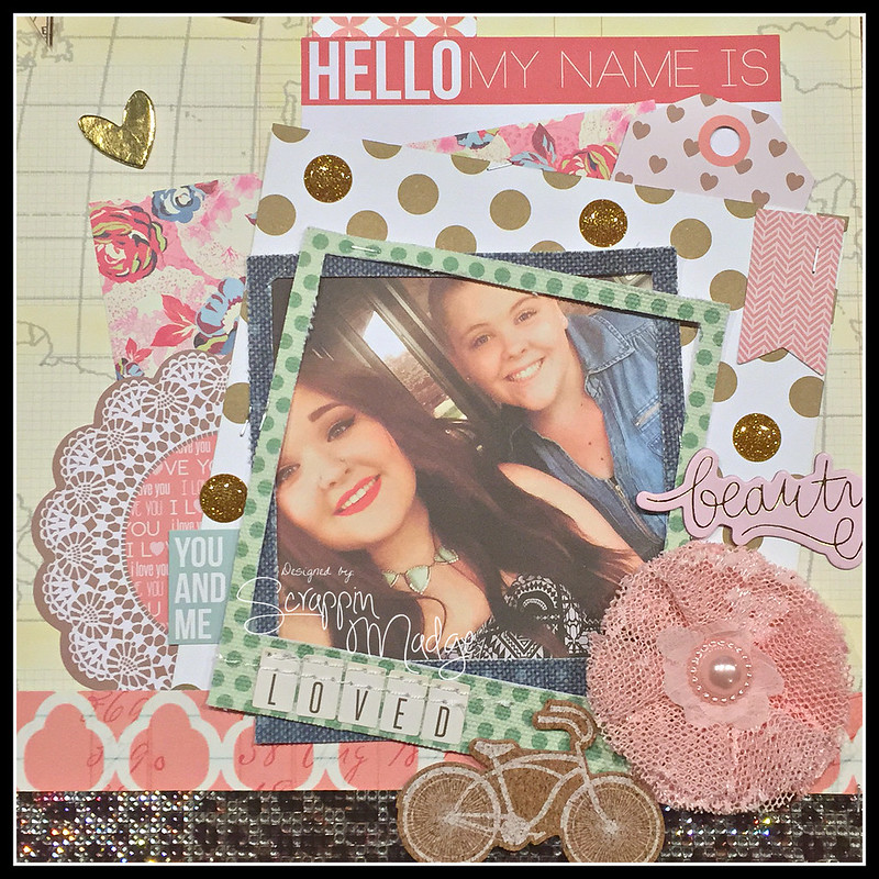 Hello My Name is bling closeup layout
