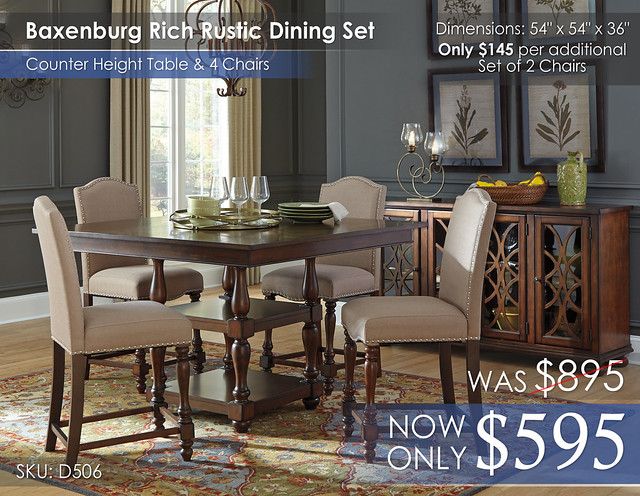 Baxenburg Rustic Dining Set & 4 Chairs D506