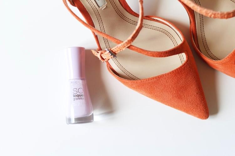Orange and lilac Zara heels and Bourjois polish