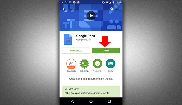 How to create word document in smartphone step 2