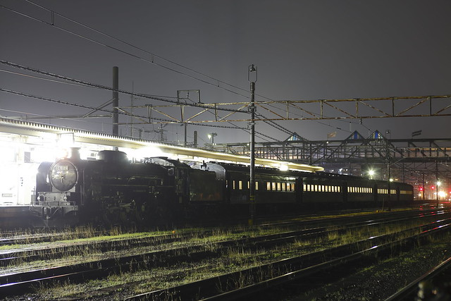Steam Locomotive C61-20 Test run at night