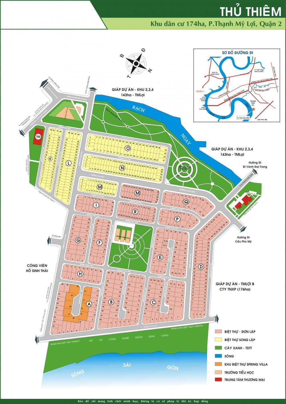 Bản đồ dự án Thủ Thiêm Villa, Thạnh Mỹ Lợi, Quận 2