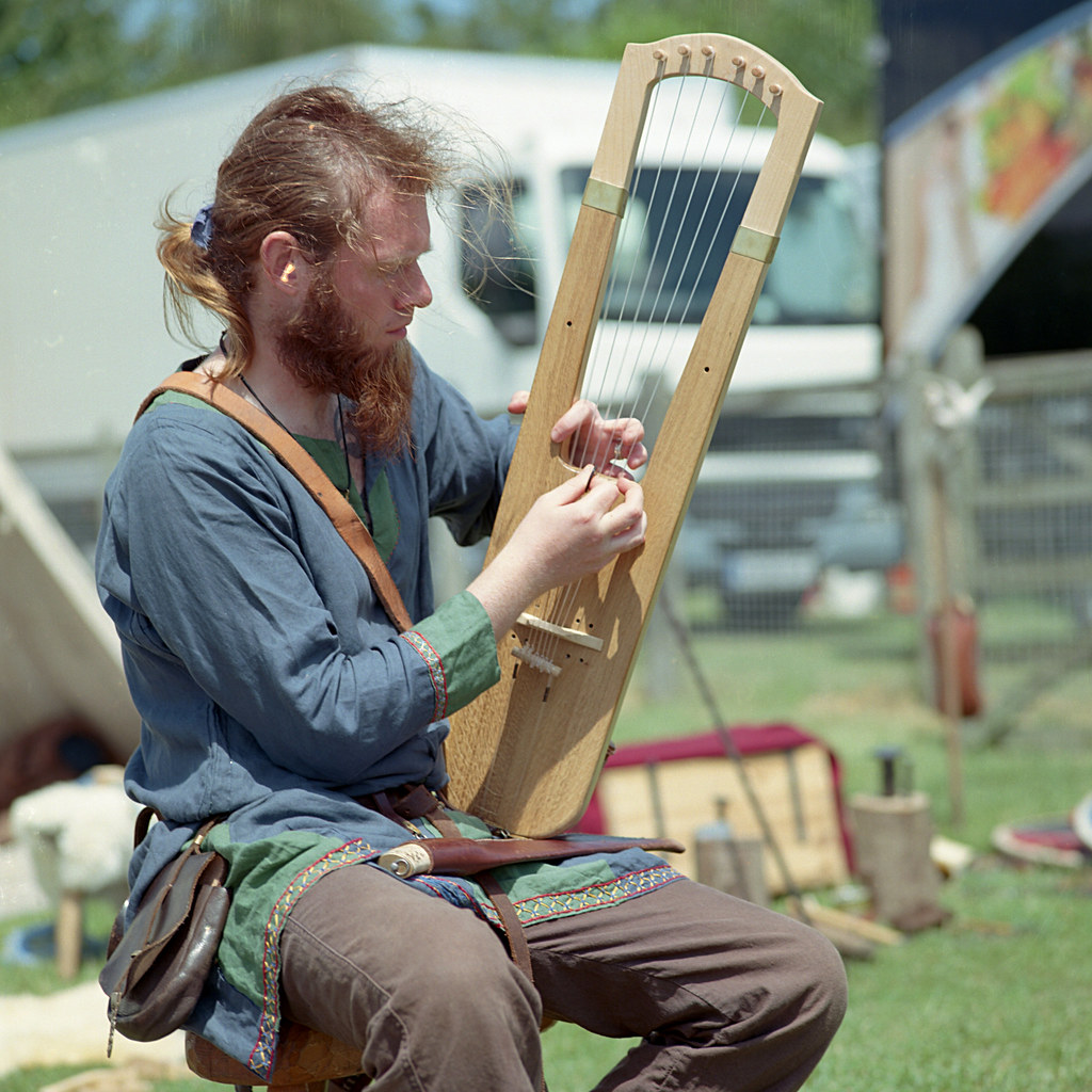 The Norse Lyre Viking And Medieval Musician Playing The