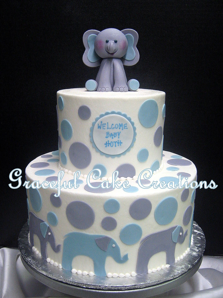 Elephant Themed Baby Shower Cake With A Fondant Elephant T