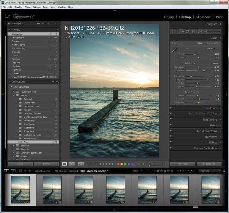 Bewerk in een programma zoals bijvoorbeeld Lightroom de eerste foto in de serie opnamen naar smaak.