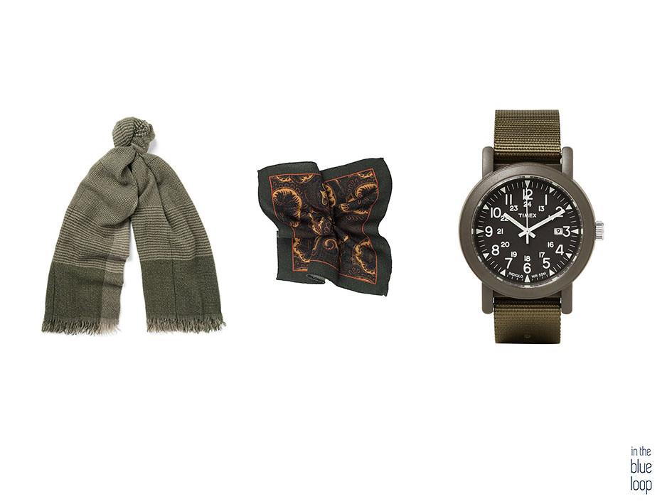 Tres accesorios para hombres en verde que se pueden combinar con cualquier look: reloj, bufanda y pañuelo de bolsillo