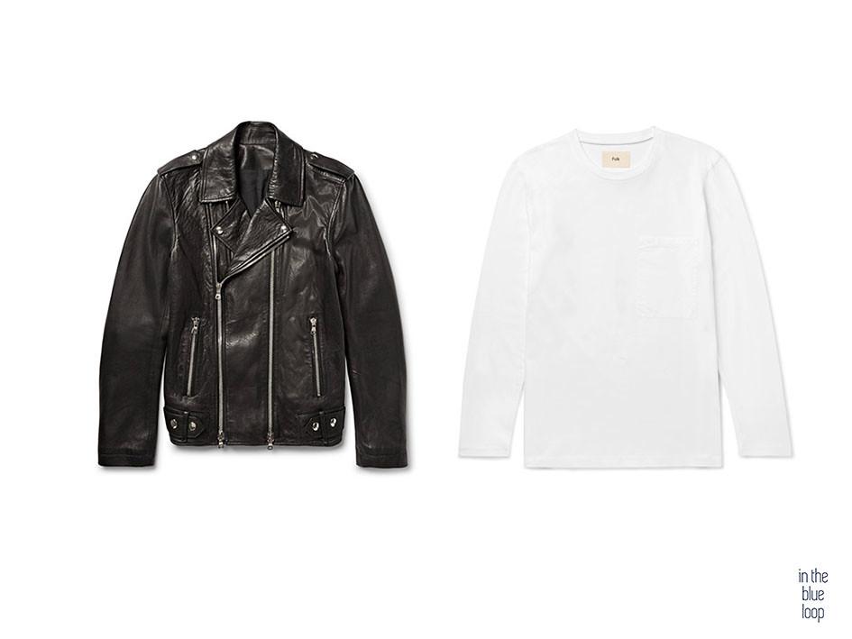Combinar una chaqueta de cuero masculina negra con cremalleras y una camiseta blanca para hombre