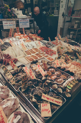 Wide array of fresh seafood at Nishiki Market