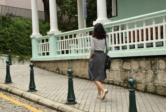 Macau street, Portuguese, classic outfit style, 1950s style, photography
