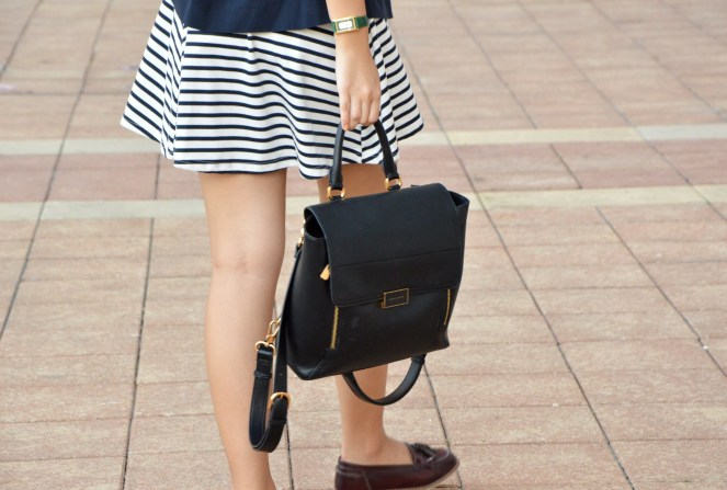 Striped skirt, charles & keith black leather back pack, asos tassel loafers
