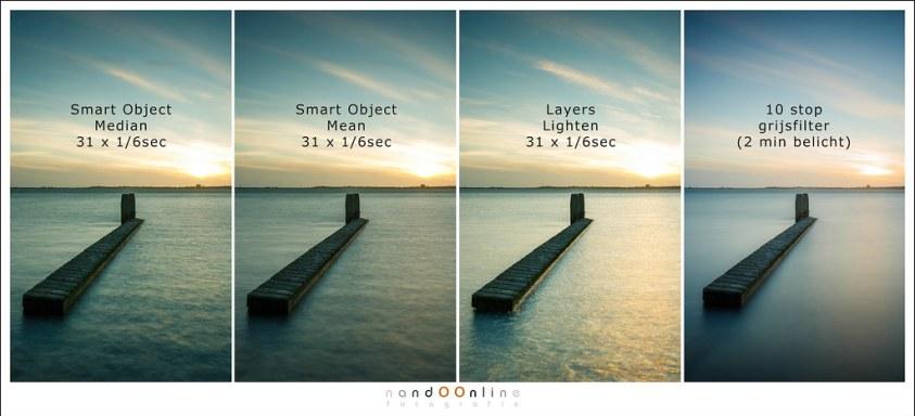 De verschillen op een rij. Het vergelijk met de foto met filter is niet helemaal eerlijk aangezien deze 2 minuten belicht is. Er zouden echter 720 foto's nodig zijn om deze 2 minuten te kunnen immiteren