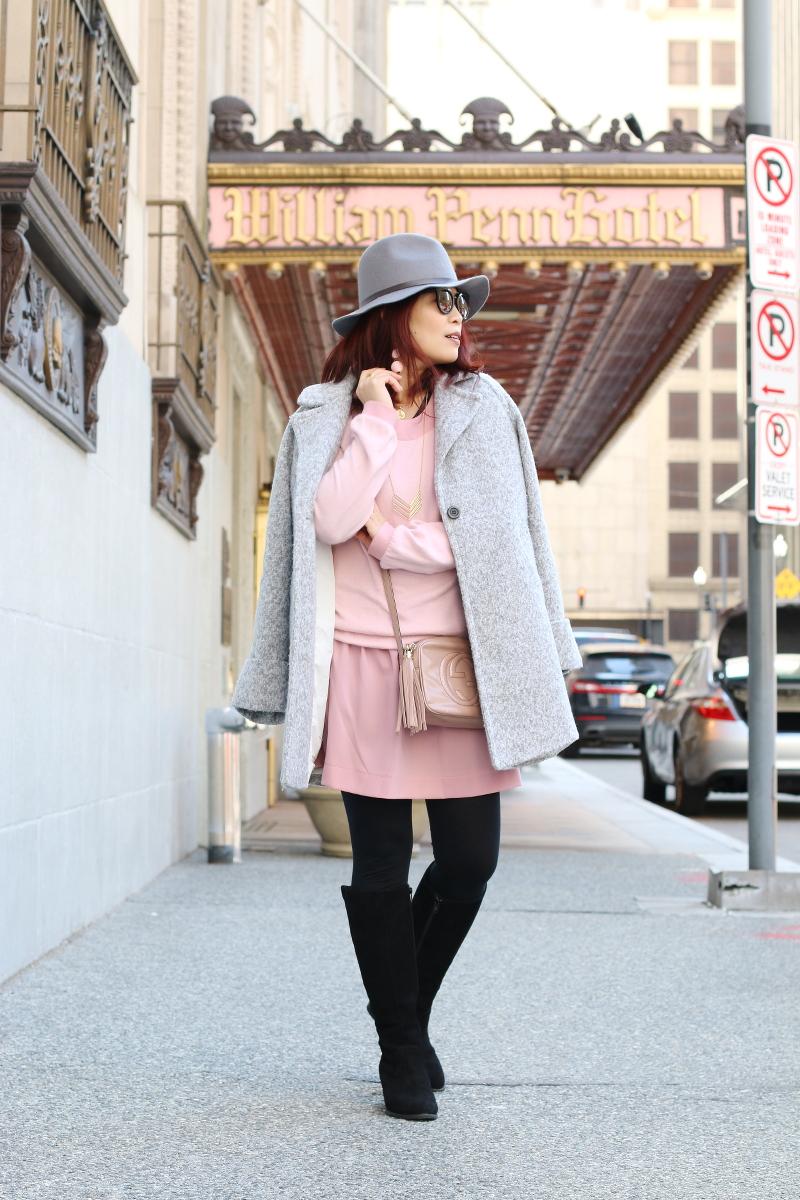 pink-dress-gray-coat-vionic-shoes-boots-7