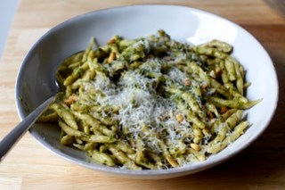 handmade trofie with pesto