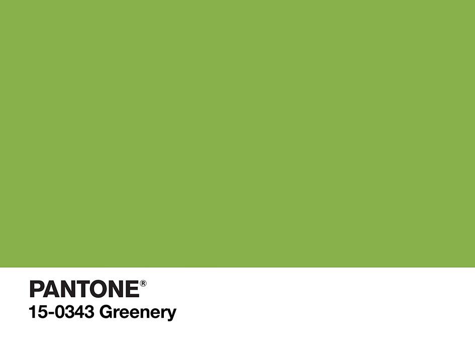 Muestra de Pantone del verde que es color del año 2017