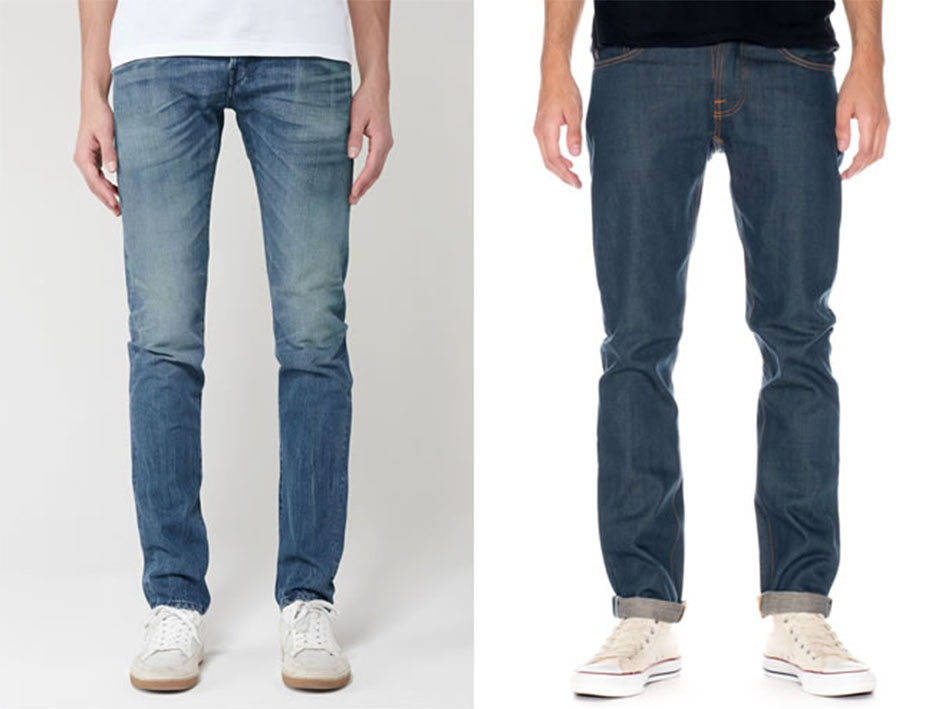 Los hombres delgados los vaqueros o jeans pueden tener rotos, pachtwork y colores claros