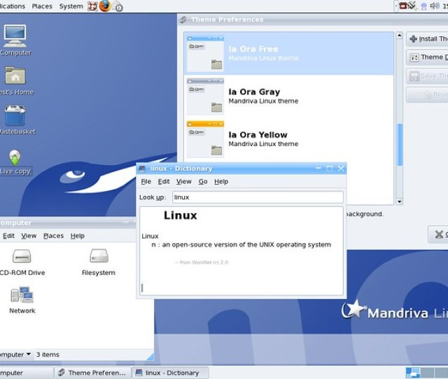 Gnome With Ia Ora Theme On Mandriva Linux  Odin By Mandriva