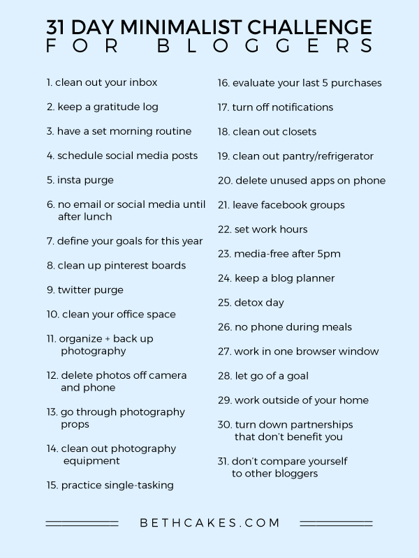 31 Day Minimalist Challenge for Bloggers