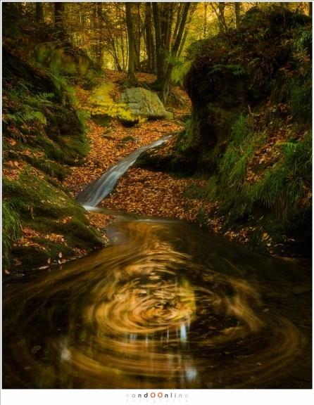 De beweging van de bladeren in het water vormen vaak een vraagteken, alsof het water zich afvraagt wat je daar te zoeken hebt. Of misschien zijn het de waternymfen... het heeft ten slotte Bain des Naïades  (38mm, f/11, ISO100, 15sec)