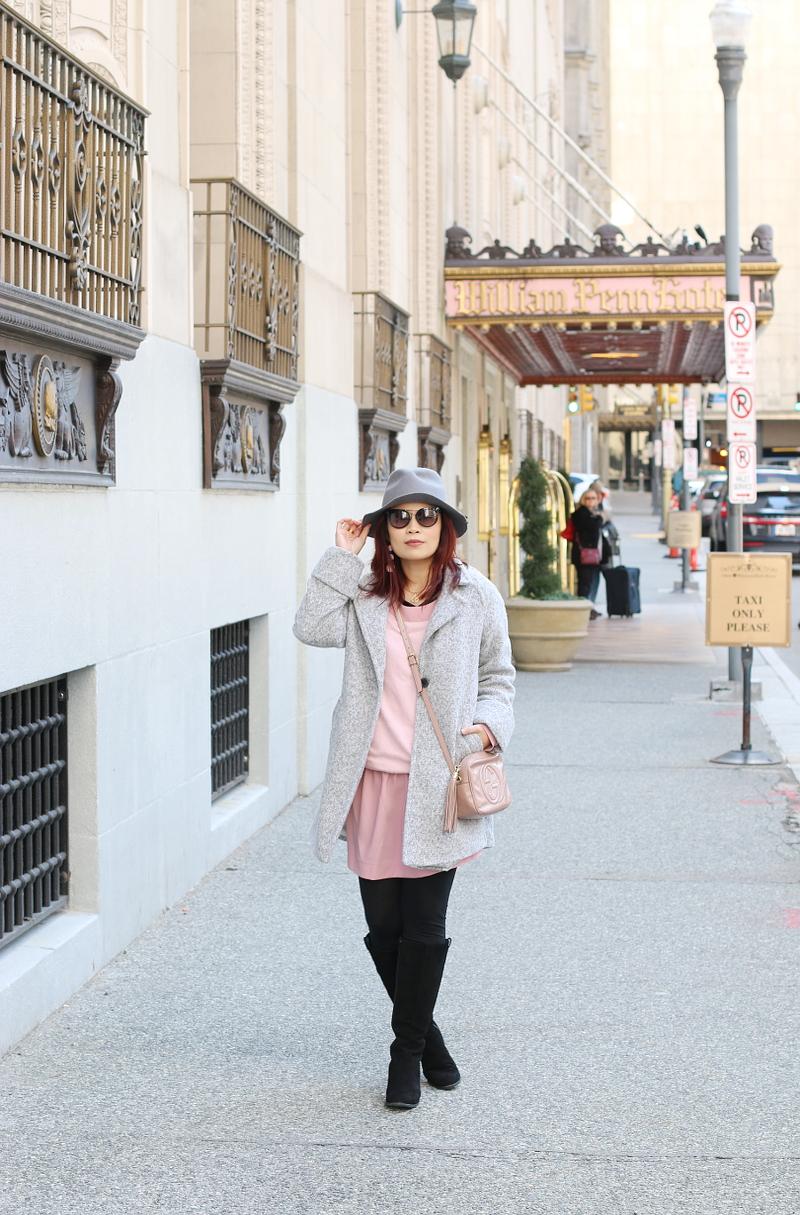 pink-dress-gray-coat-fedora-hat-10