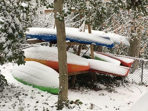 Snow-covered kayaks