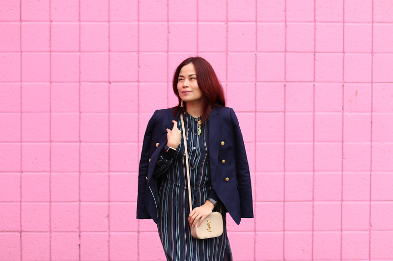 banana-republic-blazer-theory-stripes-dress-ysl-bag-2