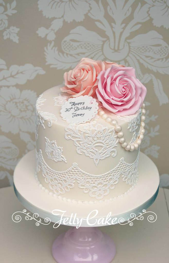 Roses And Lace Birthday Cake A Replica Of The Top Tier