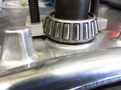 Installing Steering Stem Lower Bearing Puller Plate Under Inner Bearing Race