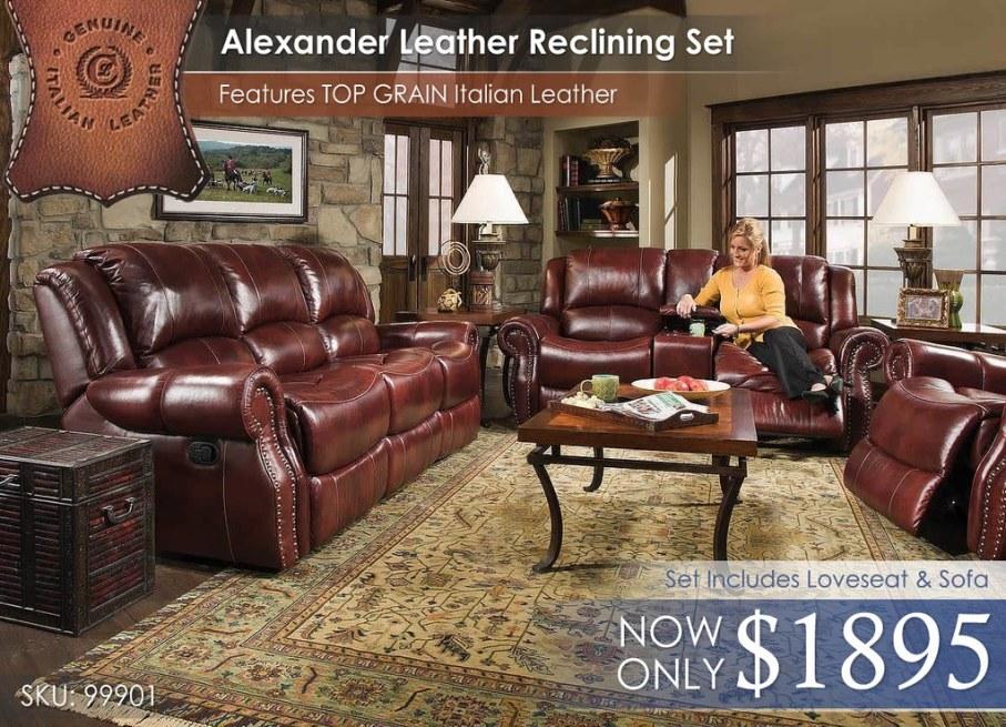 99901 Corinthian Alexander Top Grain Leather Reclining Set