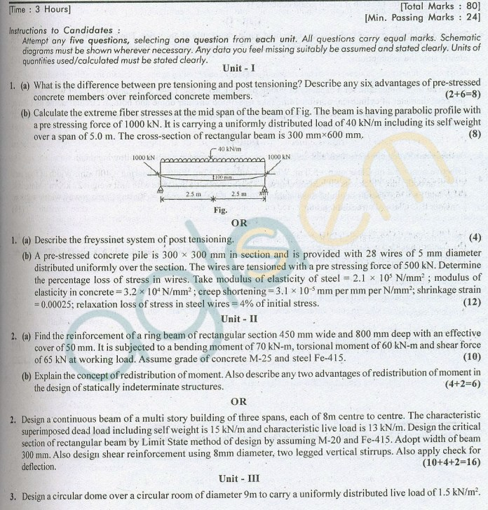 RTU: Question Papers 2014 – 6 Semester - CE - 6E3033