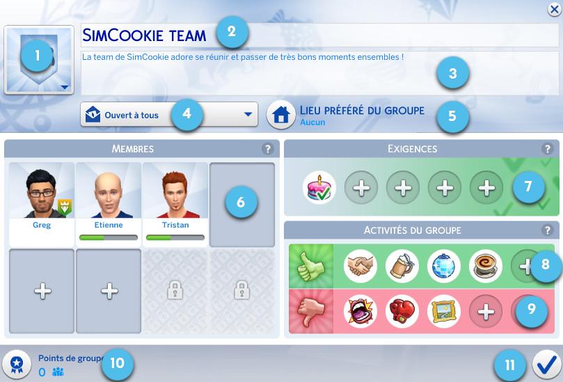 Groupes - Sims 4 Vivre ensemble