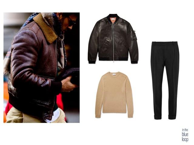 Mezclar una bomber de cuero para hombre con pantalón negro y sweater camel es una combinación masculina perfecta