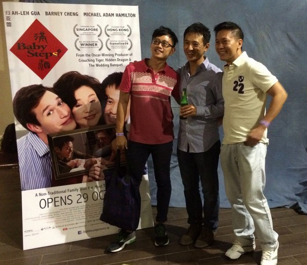Members of the audience come up to congratulate Cheng on the film and snap pictures with him at the photo booth at the after party.