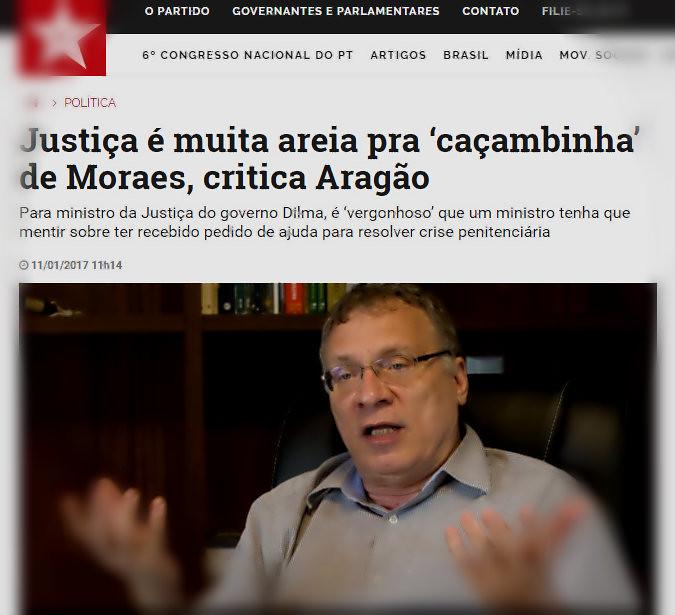 Site do PT é obrigado a retirar entrevista com críticas ao novo ministro do STF, Matéria censurada