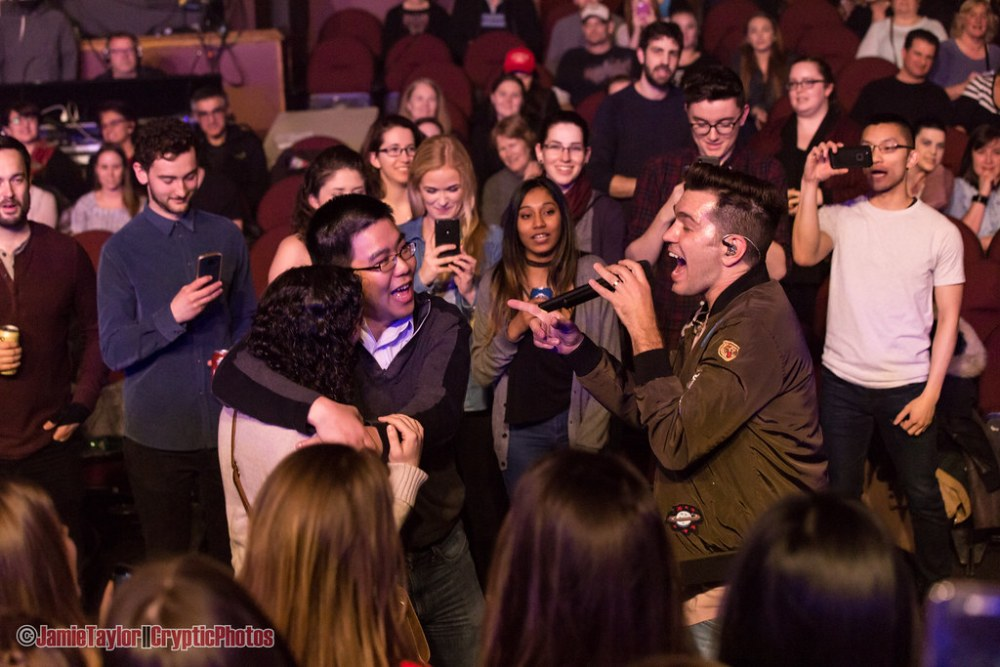 Andy Grammer performs for a couple proposing at his show at The Vogue Theatre in Vancouver, BC on March 20th 2018